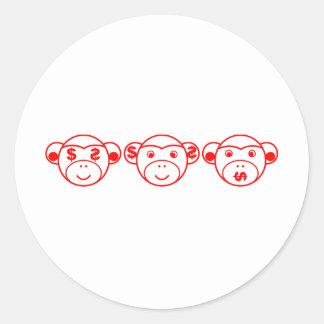 Three Unwise Monkeys (dollar, talk) Classic Round Sticker