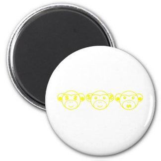 Three Unwise Monkeys (dollar, yellow) 2 Inch Round Magnet