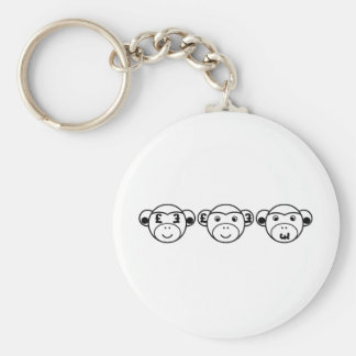 Three Unwise Monkeys (Pound, black) Keychain