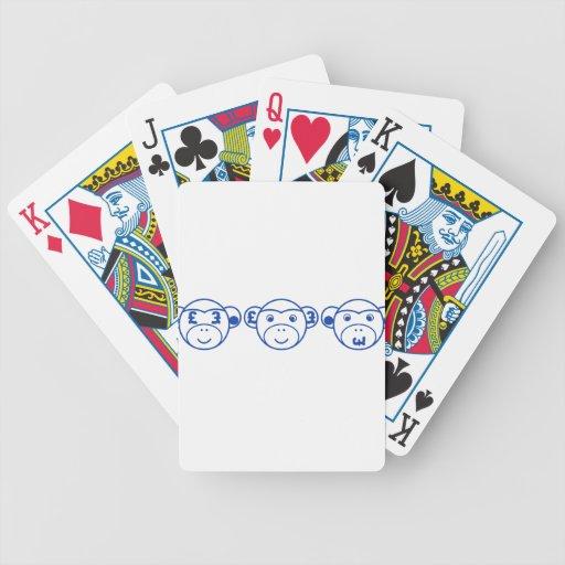 Three Unwise Monkeys (Pound, blue) Bicycle Playing Cards