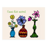 Three Vases Art Moving Woman Address Announcement Postcard