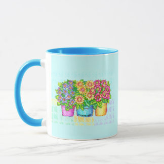 Three Vases Flowers Mug