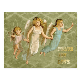 Three Victorian Angels Peace Joy Love Postcard