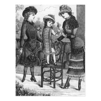 """Three Victorian Children"" Fashion Illustration Postcard"