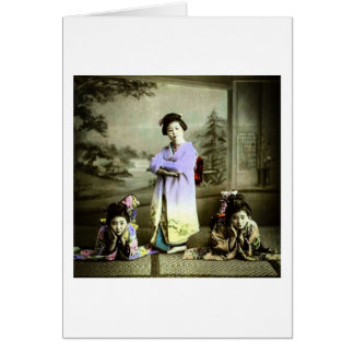 Three Vintage Geisha in Old Japan Hand Colored Card