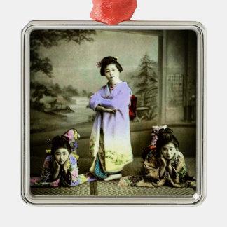Three Vintage Geisha in Old Japan Hand Colored Metal Ornament