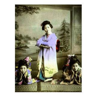 Three Vintage Geisha in Old Japan Hand Colored Postcard