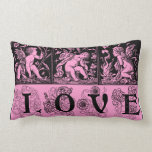 Three Vintage Images of Cupid Love Pink Pillow