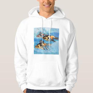 Three Watercolor Fantail Goldfish Iin Aquarium Hoodie