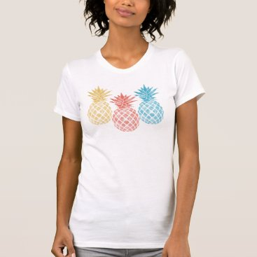Beach Themed Three Watercolor Pineapple Graphic for T-shirts