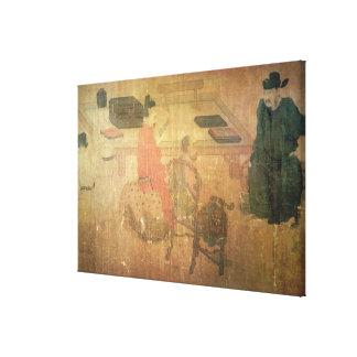 Three Well-Read Men from Lieou-Li T'ang Canvas Print