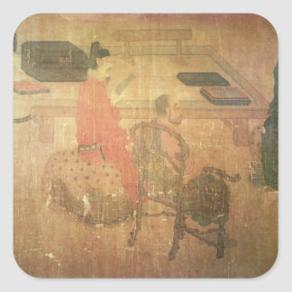 Three Well-Read Men from Lieou-Li T'ang Square Sticker