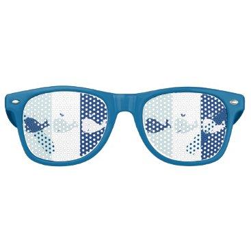 Beach Themed Three Whales Retro Sunglasses