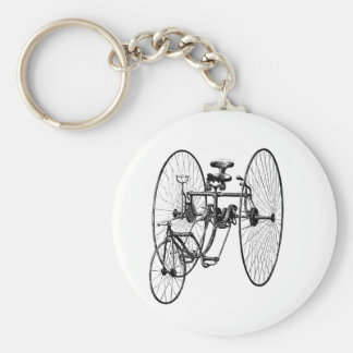 Three Wheel Bicycle Tricycle Basic Round Button Keychain