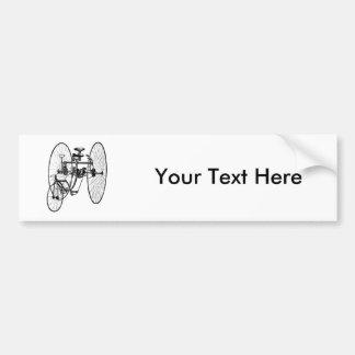 Three Wheel Bicycle Tricycle Car Bumper Sticker