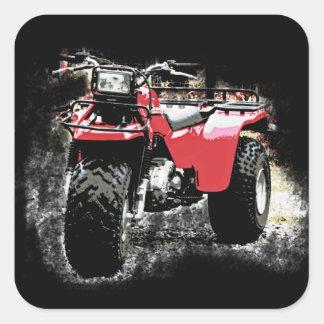 Three Wheeled ATC Red Trike Motorbike Square Sticker
