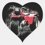 Three Wheeled ATC Red Trike Motorbike Heart Sticker