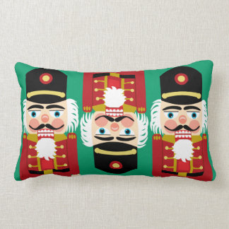 Three Whimsical Nutcrackers Traditional Red Green Pillow