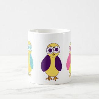 Three Whimsical Owls Coffee Mug