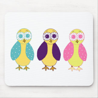 Three Whimsical Owls Mouse Pad