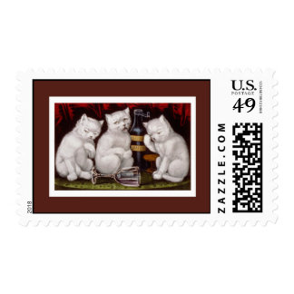 Three White Cats After the Feast- Currier and Ives Postage Stamps