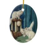 Three white cats ceramic ornament