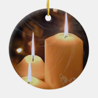 Three White Christmas Candle Ornament