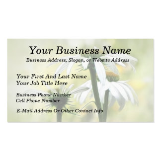 Three White Coneflowers Double-Sided Standard Business Cards (Pack Of 100)