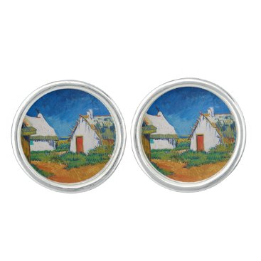 Beach Themed Three White Cottages in Saintes-Maries by Vincent Cufflinks