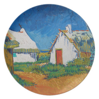 Three White Cottages in Saintes-Maries by Vincent Melamine Plate
