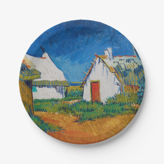Three White Cottages in Saintes-Maries by Vincent Paper Plate