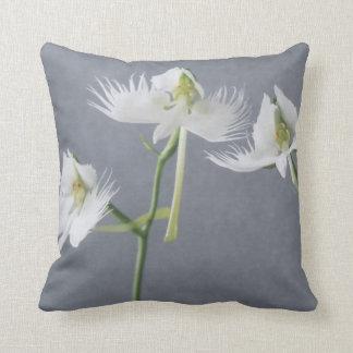 Three White Egret Orchids Pillows