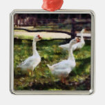 Three White Geese Christmas Ornament