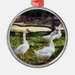 Three White Geese Christmas Ornaments