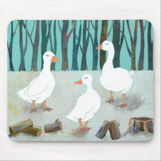 Three White Geese Mouse Pads