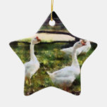 Three White Geese Ornaments