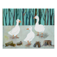 Three White Geese Poster print