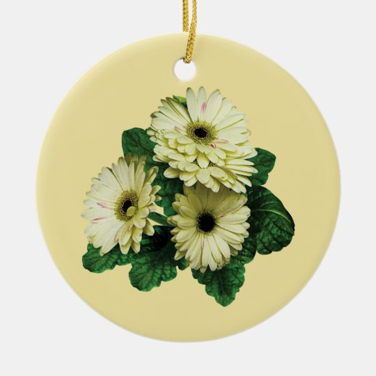 Three White Gerbera Daisies Ceramic Ornament
