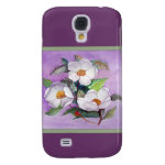 Three White Magnolias on a Lavender Background Galaxy S4 Cases