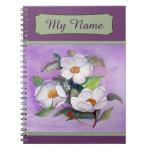 Three White Magnolias on a Lavender Background Spiral Notebook