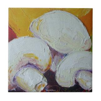 Three White Mushrooms Tile