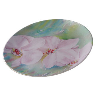 THREE WHITE ORCHIDS WALL PLATE PORCELAIN PLATES