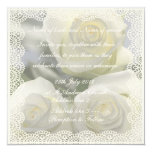 Three White Roses and Lace Wedding Invitation.