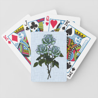 Three White Roses: Color Pencil Art: Floral Bicycle Playing Cards