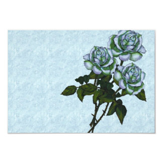 Three White Roses: Color Pencil Art: Floral 3.5x5 Paper Invitation Card
