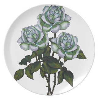 Three White Roses: Color Pencil Art: Floral Plate