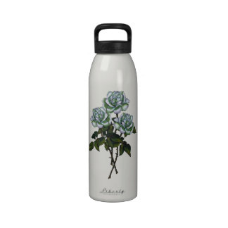 Three White Roses Color Pencil Art Floral Drinking Bottle