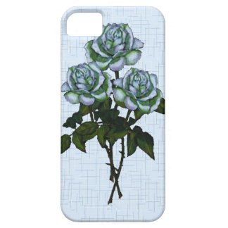 Three White Roses in Color Pencil: Blue Background iPhone SE/5/5s Case