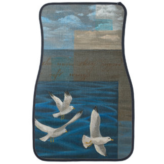 Three White Seagulls Flying Over the Water Car Mat