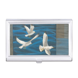 Three White Seagulls Flying Over the Water Case For Business Cards
